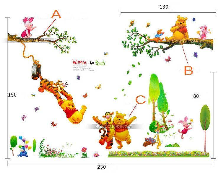3 Piece Cartoon Animals Winnie Pooh Wall Stickers For Kids Children Room  Decaor 3d Window Bear Tiger Height Measure Nursery Wall Decals Children  Room Wall ... Part 43
