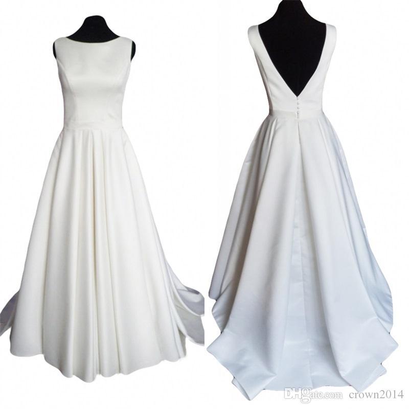 Discount modern simple satin wedding dress 2017 with open for Simple modern wedding dress
