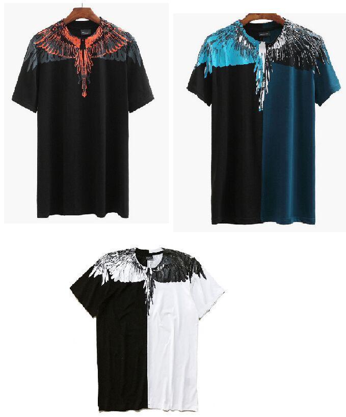 100% Cotton Marcelo Burlon Wings Rainbow Printing Fashion T Shirt ...