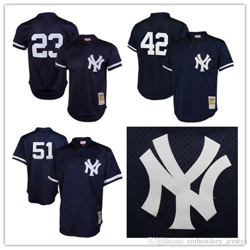 10420fb1d5e ... Navy Blue Flexbase Retro New York Yankees 23 Don Mattingly Jersey 42  Mariano Rivera Jersey 51 Bernie Williams Jersey ...
