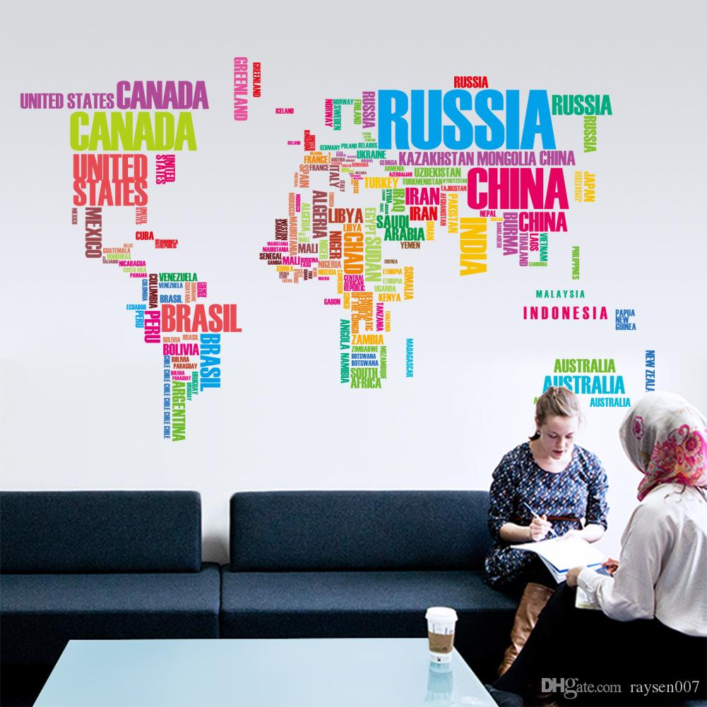 3 Colors Creative Decorative World Map Murals Home Office Art Decals Diy Letter World Map Wall Stickers Removable Vinyl Wallpaper