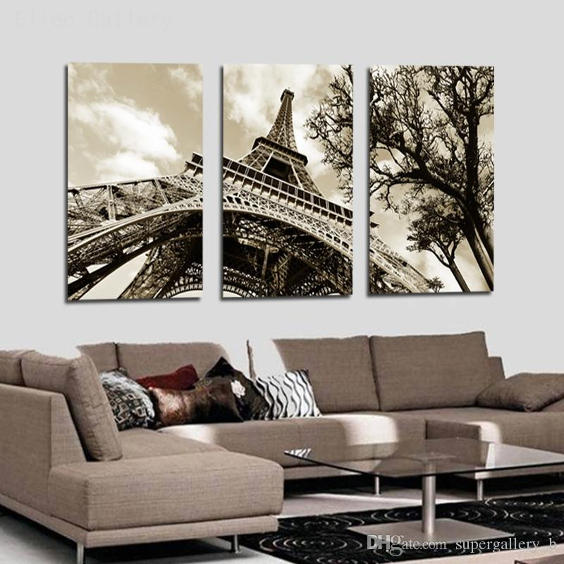 3 Panel Modular Art Oil Painting Paris City Eiffel Tower Home Wall Decor Printed On
