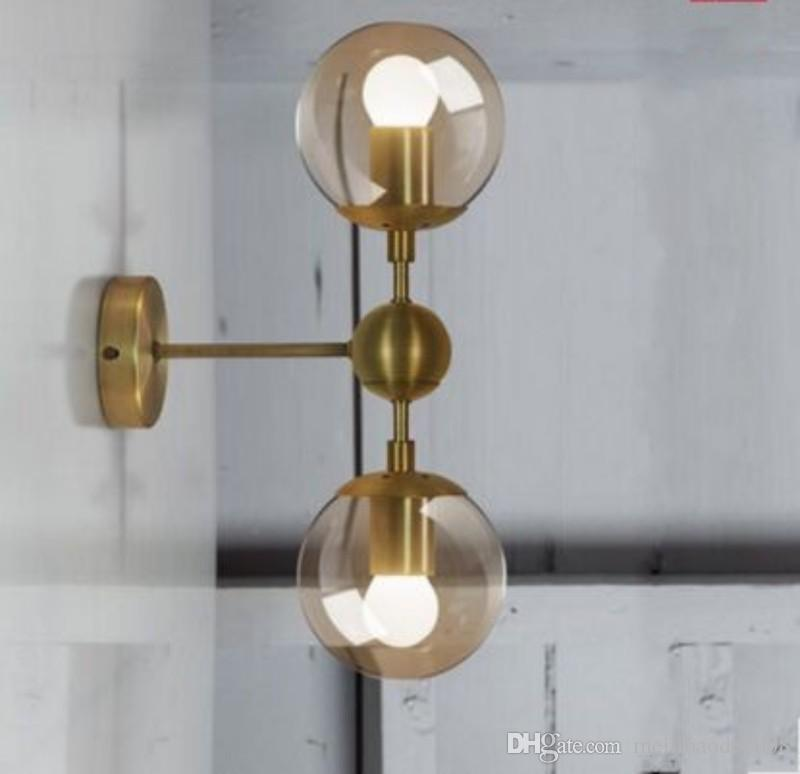 Gold Wall Lampshades : 2017 Gold Modo Wall Lamp Modern Wall Sconce Modo Wall Light Glass Shade Lighting Iron Fixture 1 ...