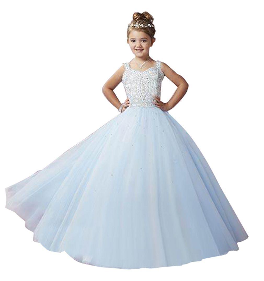 Crystal White First Holy Communion Dresses 2017 New Custom Made Flower Girl Dress For Wedding