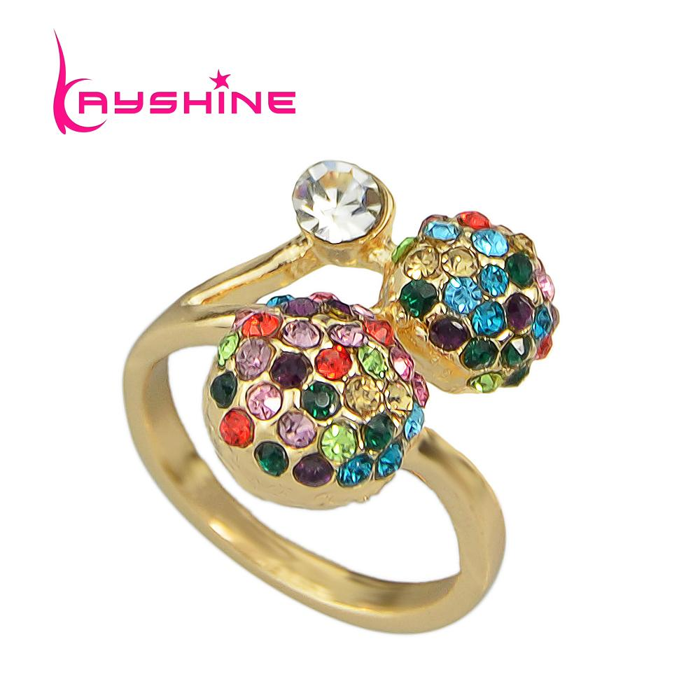 2018 new fashion gold color ring colorful rhinestone ball for 5 golden rings decorations