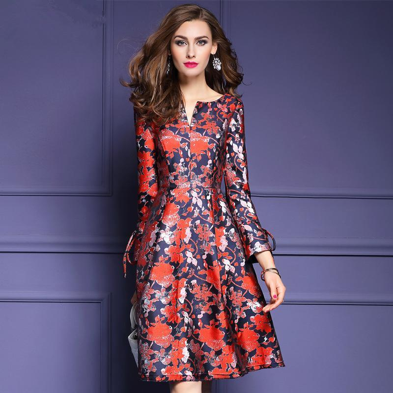 Women Dresses 2017 Spring A Line Vintage Floral Print Party Dress ...