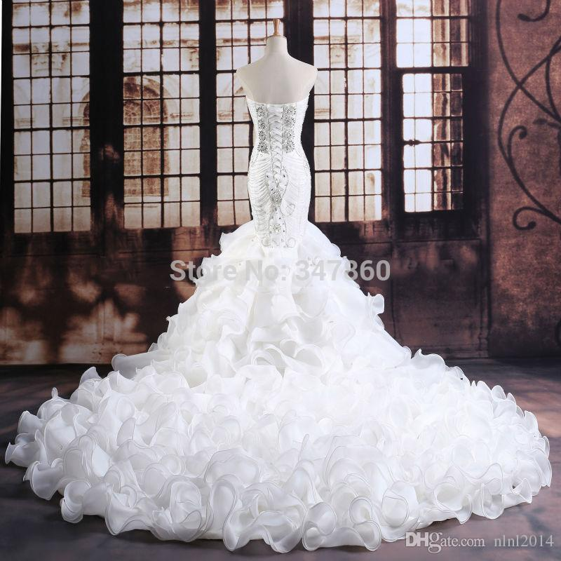 Luxurious Crystals Mermaid Wedding Dress Expensive Bridal Vestido ...