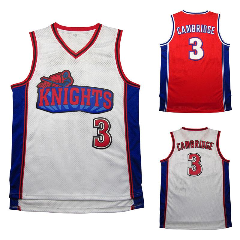 Retro Jersey Movie Film Comme Mike 3 Knights Jersey Broderie blanche / rouge et