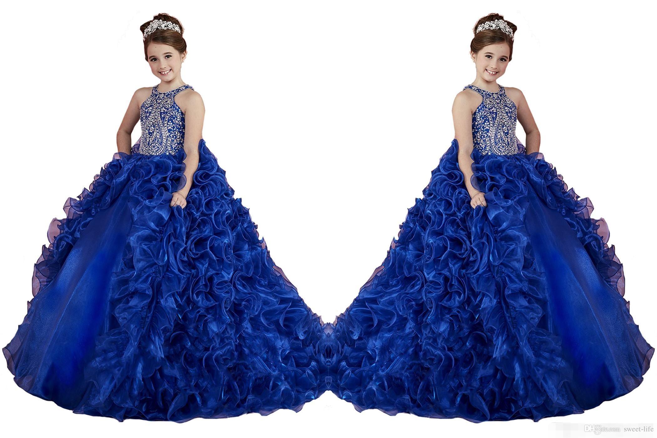 luxury royal blue little girls pageant dresses ruffled