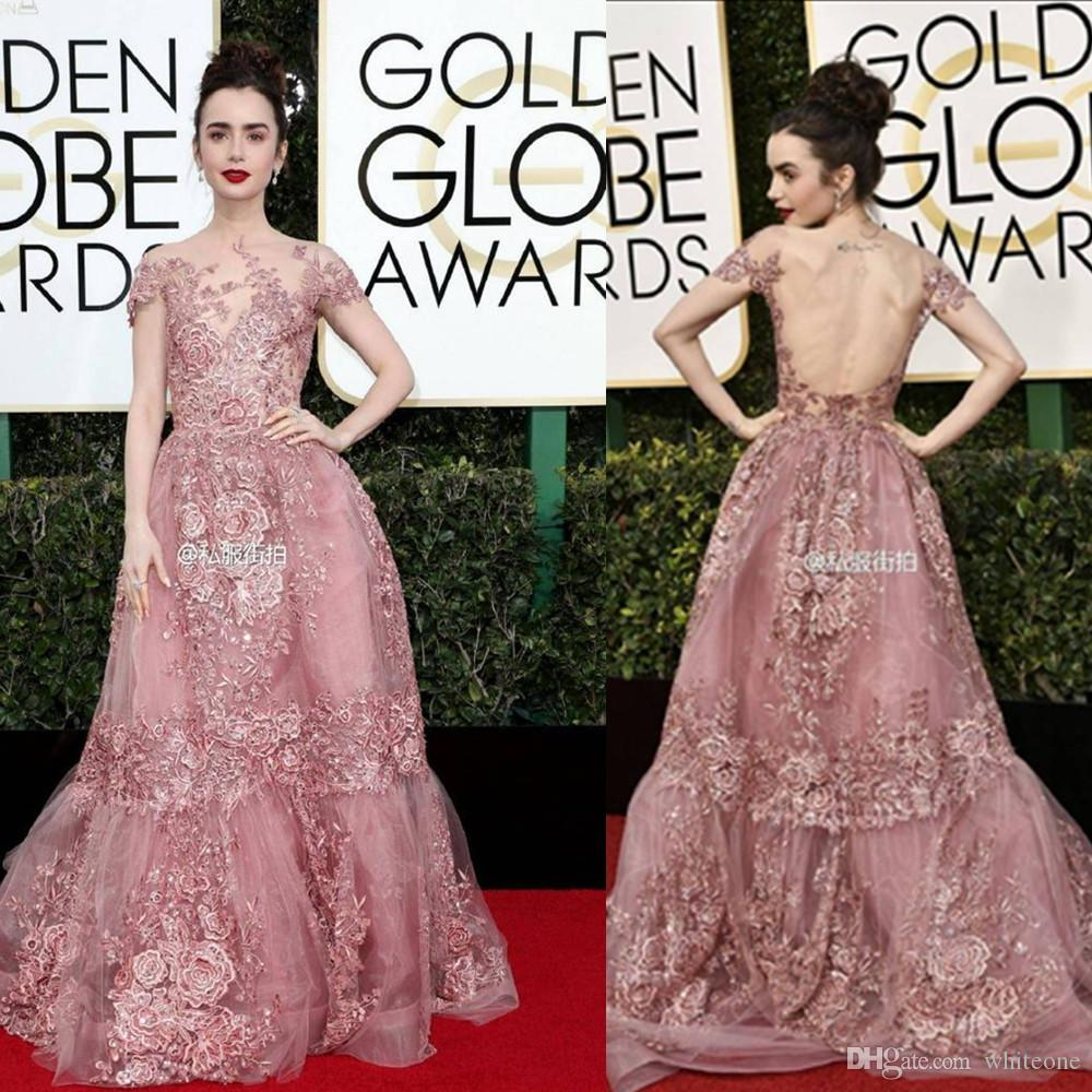 Zuhair Murad 2017 Formal Celebrity Evening Dresses Sheer Neck Lace Appliques Short Sleeves Red Carpet Prom Gowns 74th Golden Globe Awards