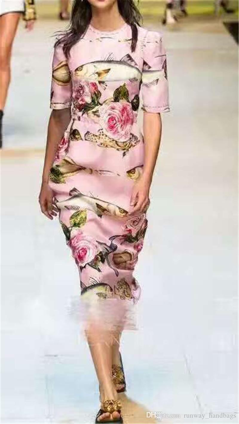 2017 2017 Runway Dresses Women High Quality Pink Silk Floral Dress ...