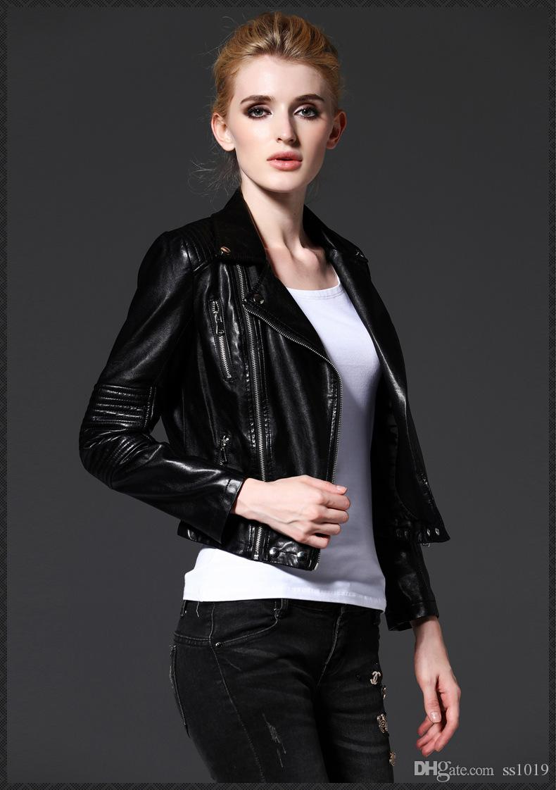 Leather jacket europe - 2017 New Arrival Women S Jacket Europe Autumn Winter Boutique Leather Shortie Slim Women S Outerwear Free Shipping