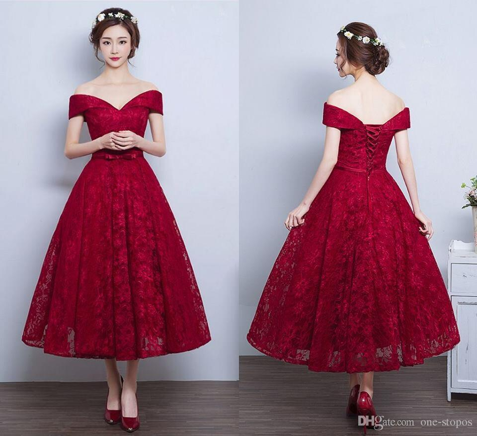 One shoulder red lace prom dresses 2017