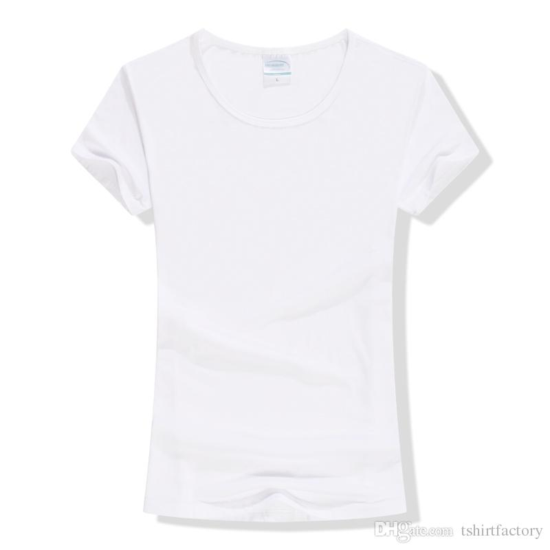 Solid Color Plain White T Shirts Women Size S-XXL Accept Customize ...