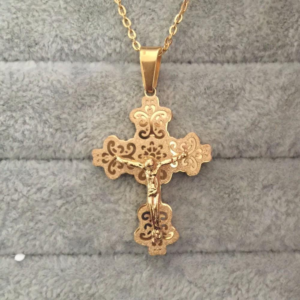 Wholesale 2017 new 18k gold plated big cross pendant for Does gold plated jewelry fade