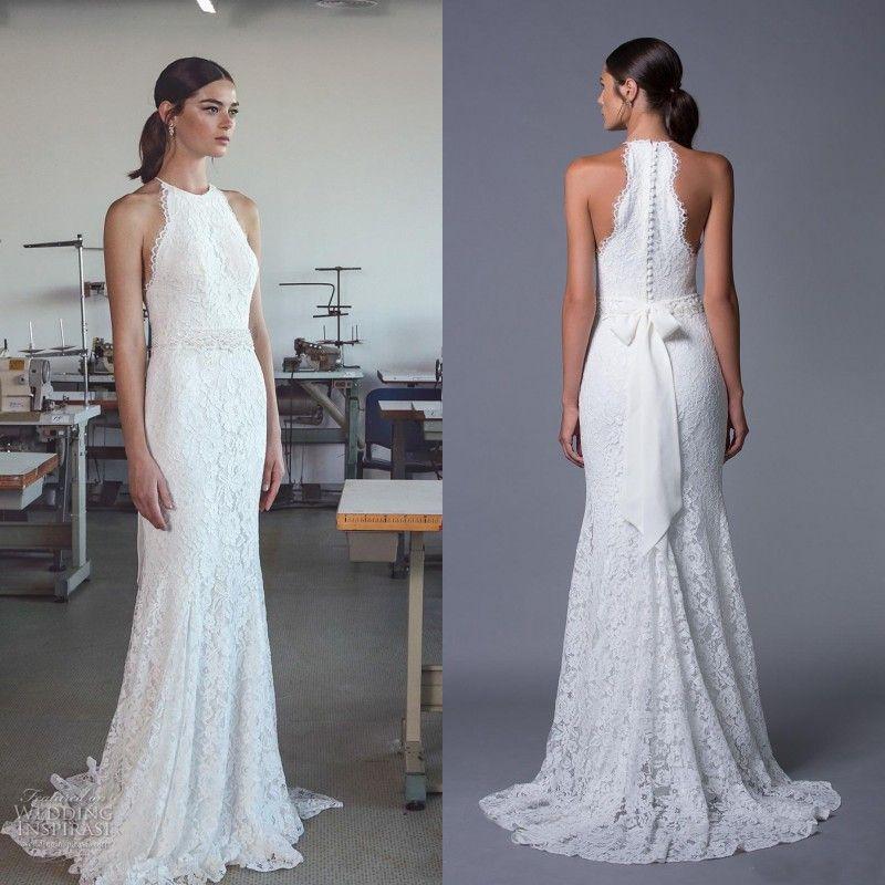 Country style 2017 beach wedding dress sheath column full for Beach style wedding dresses