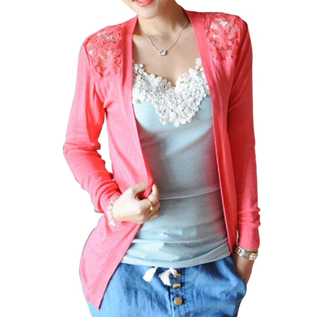 Wholesale- Spring Fashion Candy Color Lace Cardigan Long Sleeve ...