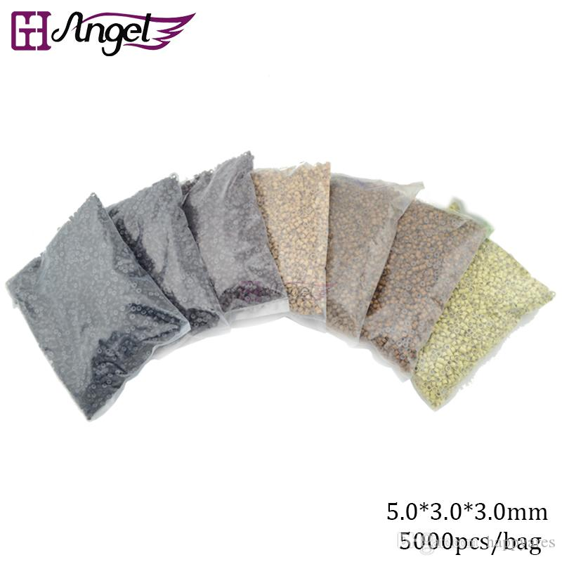 GH Angel Micro Ring Loop Link Beads Silicone Beads Feather Hair Extension Tools,5mm*3mm*3mm,5000pcs/bag
