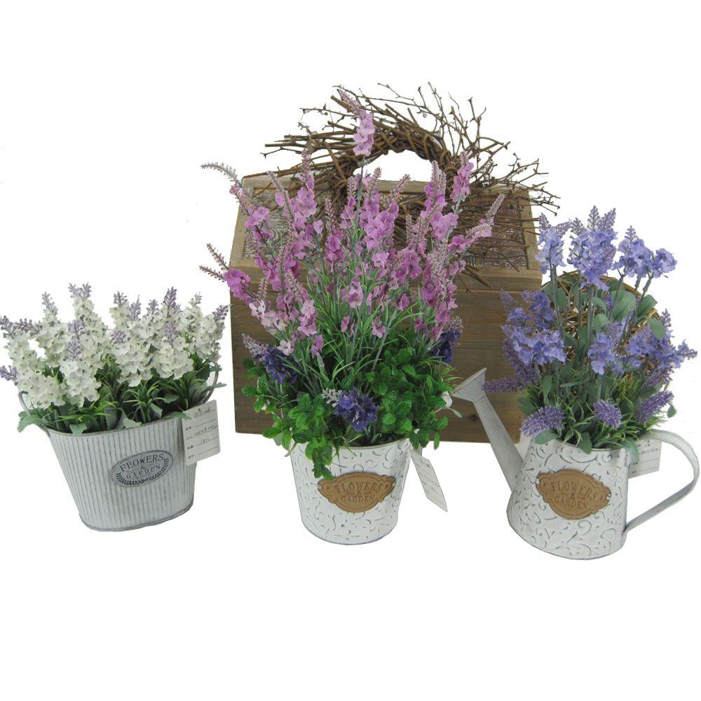 Artificial Lavender Plants With Metal Pots Table Flower ...