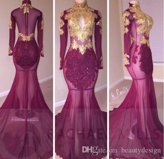 Black Mermaid Prom Dresses 2017 New High Neck Sheer Long Sleeves Gold Lace  Appliqued Hollow Out Sexy Illusion Bodices Long Evening Gown Black Evening  ... - Black Mermaid Prom Dresses 2017 New High Neck Sheer Long Sleeves
