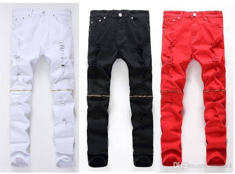 2017 Fashion Man Torn Jeans Patch Red White Black Side Hole In ...