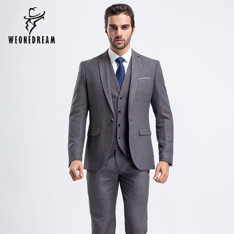 Wholesale- New Mens Wedding Suit One Button Light Grey Suits ...