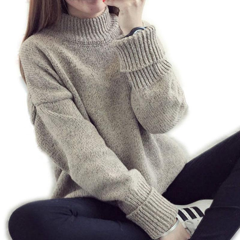 Wholesale- Turtleneck Sweater Women Winter 2016 New Loose Pullover ...