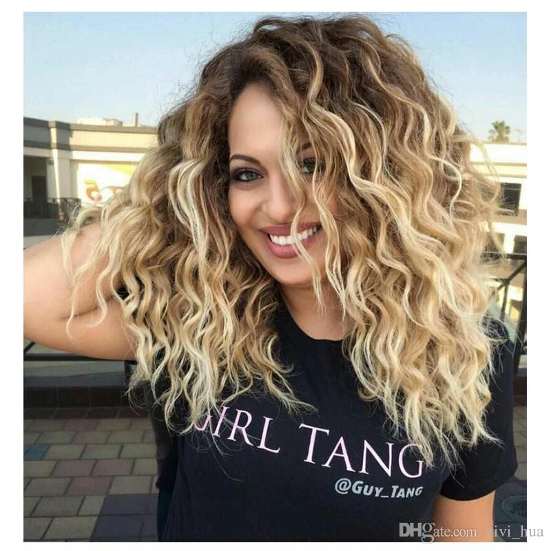 Synthetic Curly Blonde Wig Dark Roots Ombre Wig For Black