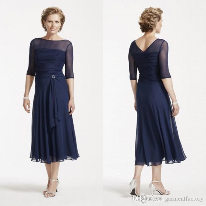 Navy Blue Mother Bride Dresses Tea Length Bateau Neckline