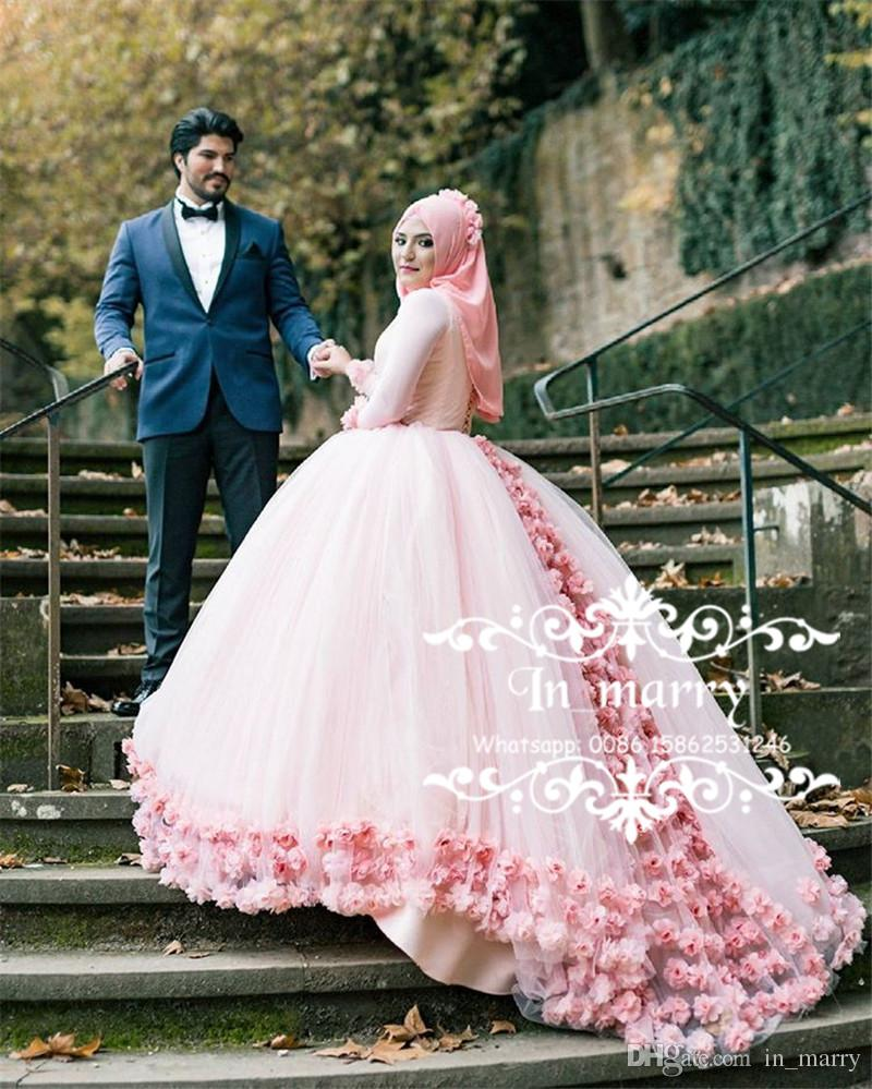 Pink Muslim Hijab Ball Gown Wedding Dresses 2018 3d