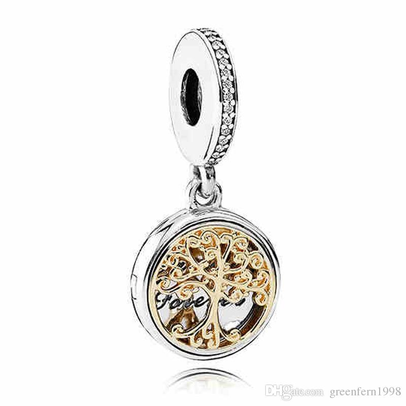 Authentique 925 Sterling Silver Bead Charm Gold Famille Roots à deux tons de pen