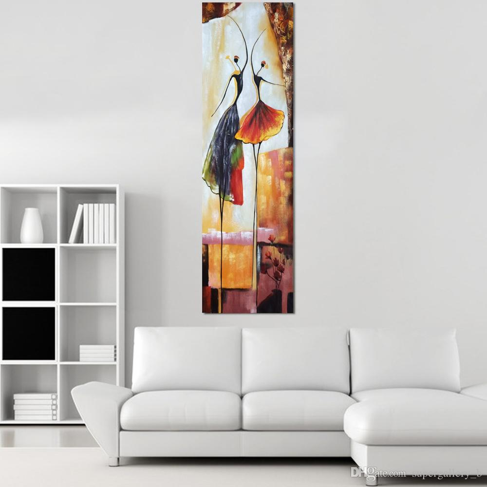 Oil Painting For Living Room 2017 Framed Hand Painted Abstract Art Oil Painting Ballet Dancers