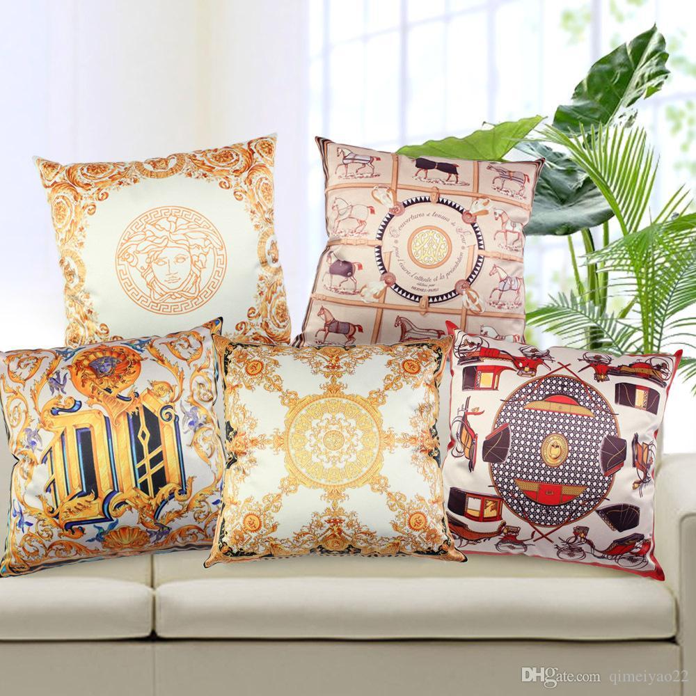 Royal Luxury High Precision Imitated Silk Tassels Pillow Cover Home Furnishing Sofa Chair Bedding Hotel Decorative Cushion Cover 45cm 45cm