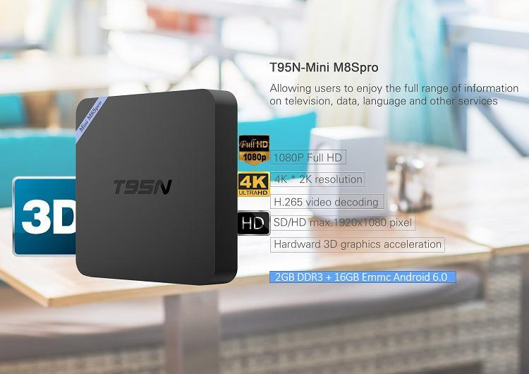 T95N mini m8spro Android TV BOX Amlogic S905X 2 Go 16 Go Quad Core Android 6.0 T