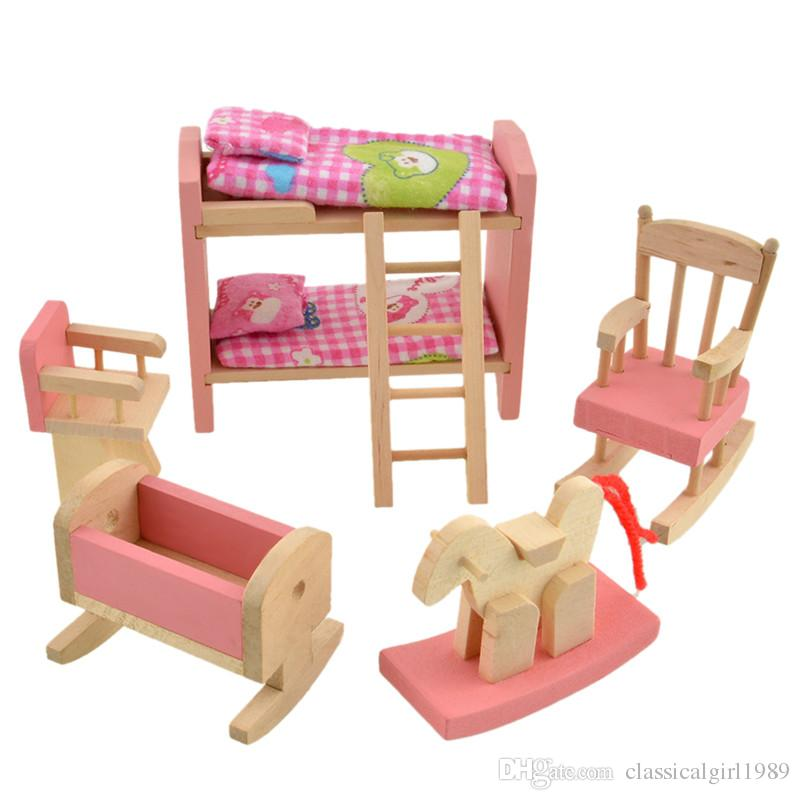 2017 Wooden Doll Bunk Bed Set Furniture Dollhouse Miniature For Kids Child Play Toy Educational