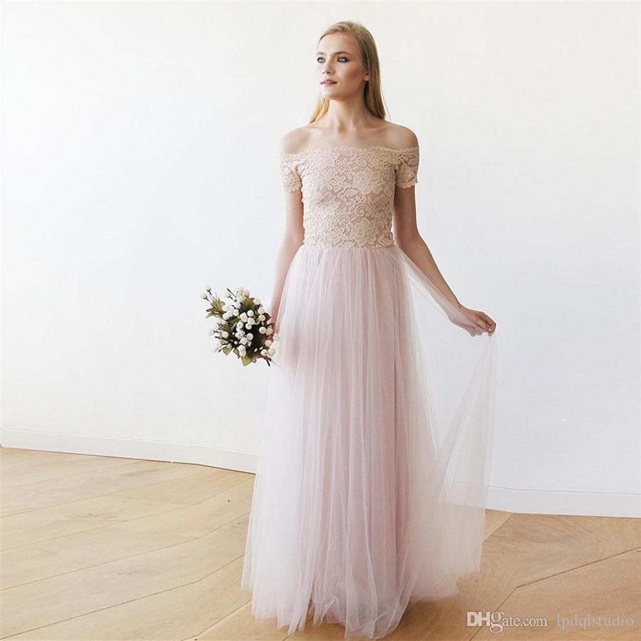 2017 Blush Wedding Dresses Soft Tulle With Floral Lace Off Shoulder Short Sleeves Zipper Back Bridal Gowns Cheap Beach Dress