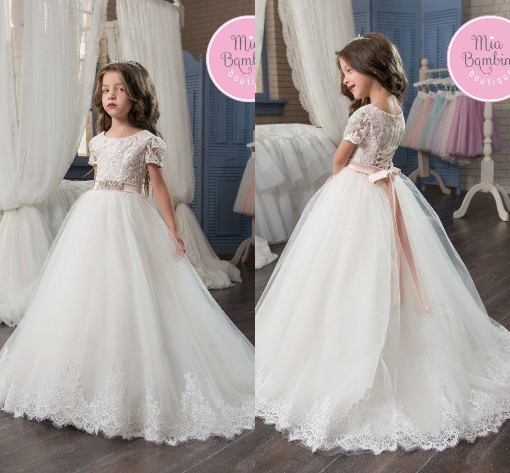 Princess Ball Gown Short Sleeve Flower Girl Dresses 2017