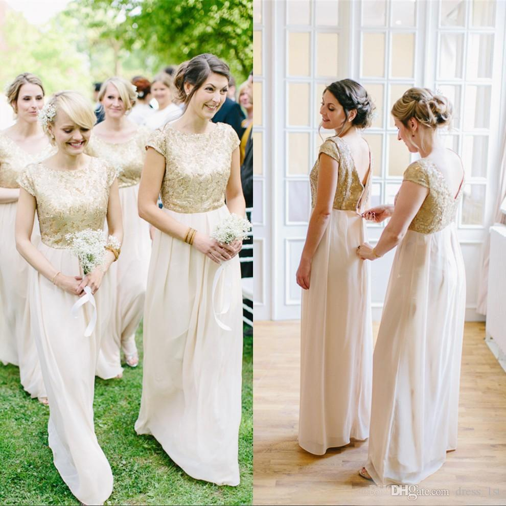 New fashion gold lace top beige chiffon bridesmaid dresses long new fashion gold lace top beige chiffon bridesmaid dresses long 2017 short sleeve zipper back floor length maid of honor gown en71113 gold bridesmaid ombrellifo Gallery