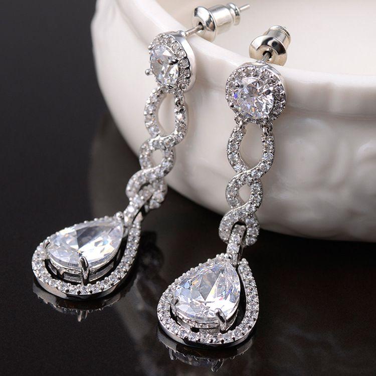 Vintage Crystal Bridal Earrings Long Silver Dangle Wedding ...
