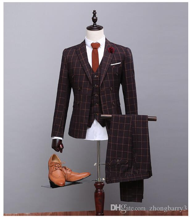 Customized Brown Wool Plaid Mans Wedding Suits Male Blazer Formal ...