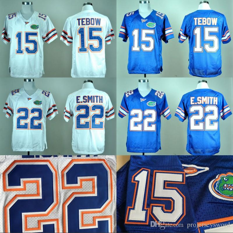 Florida Gators College Jersey 15 Tim Tebow 22 Emmitt Smith 100% coton brodé Logo