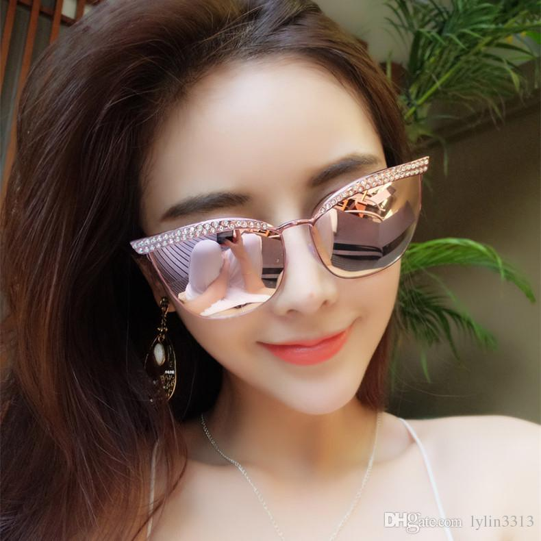 fashion sunglasses for women  2017 Fashion Sunglasses For Women Korea Eye Cat With Bling Bling ...