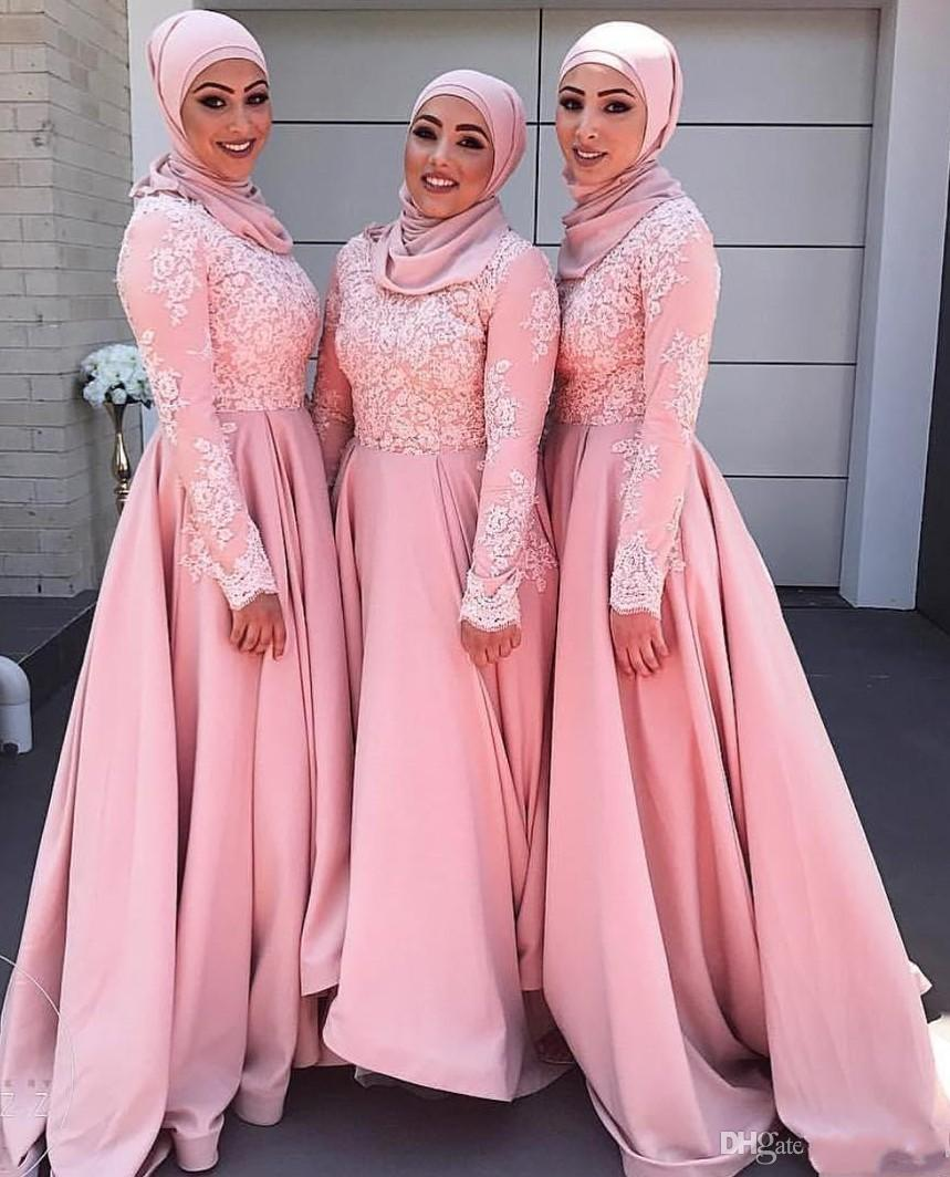Arabic dubai 2017 new design muslim pink bridesmaid dresses lace arabic dubai 2017 new design muslim pink bridesmaid dresses lace applique long sleeves maid of honor dress bridesmaid gowns for wedding 1036 2017 new pink ombrellifo Images