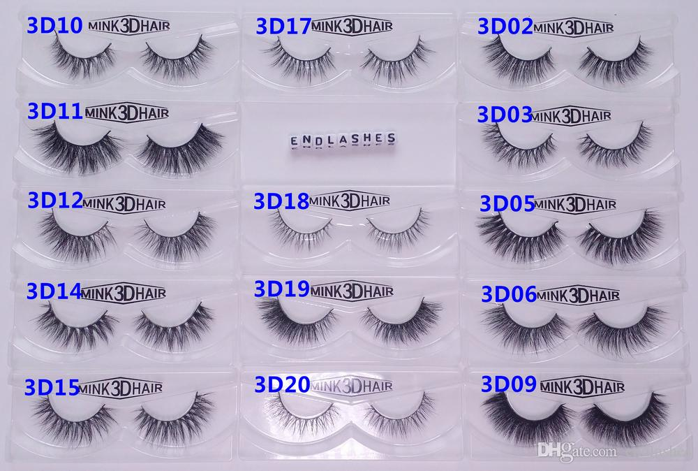 13-16mm 1 paire / boîte OEMPrivate Logo Acceptable Real 3D Mink Hair Fur Eyelash