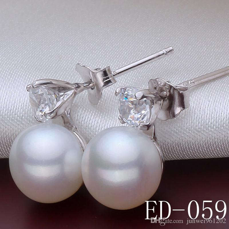Luxe 925 Silver Zircon Pavée Wedding Simulated Pearl Earrings For BridesWomen St