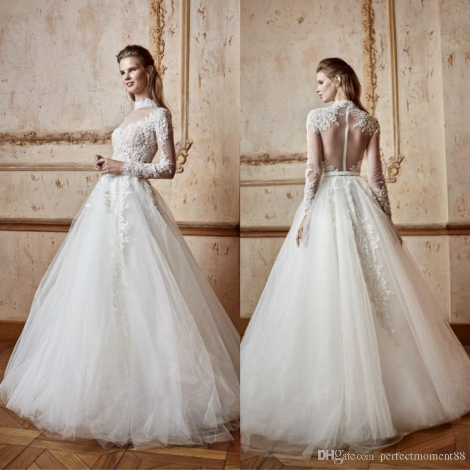 Discount High Neck Luxury Wedding Dress Sleeves Delicate