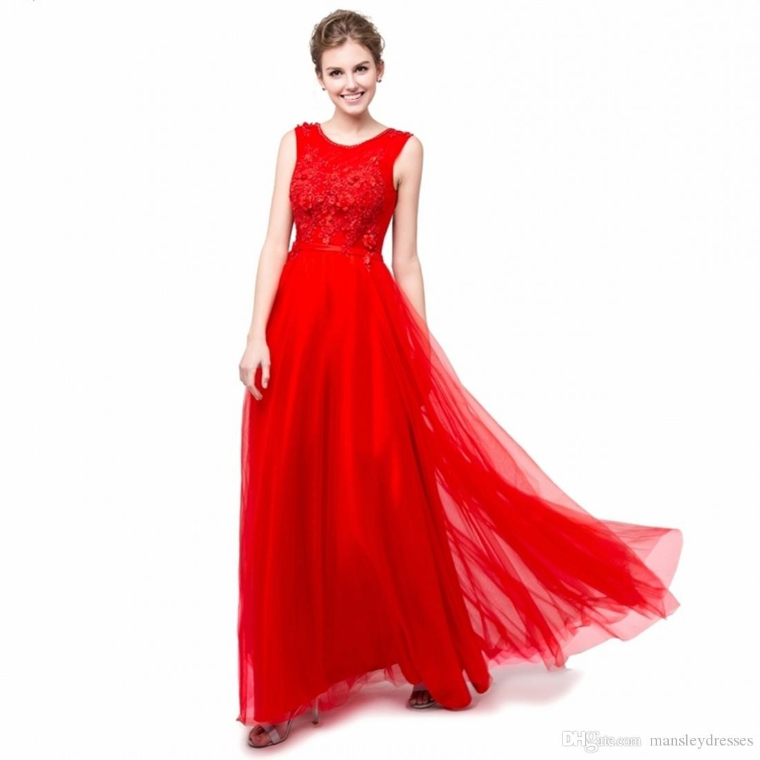 Elegant red bridesmaid dresses lace appliqued wedding guest dress elegant red bridesmaid dresses lace appliqued wedding guest dress sheer back zipper floor length tulle cheap formal gowns 2018 bridesmaid dresses bridesmaid ombrellifo Gallery