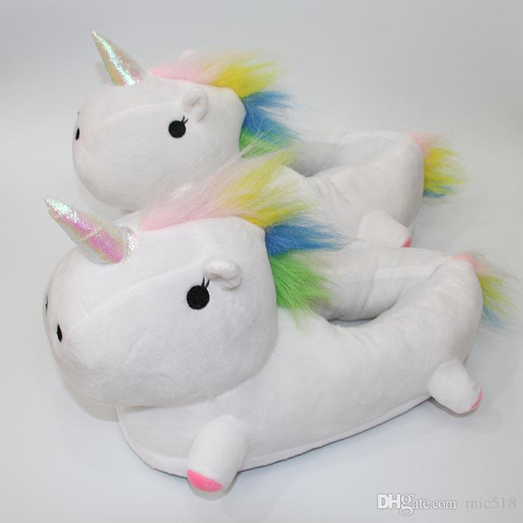 2017 New Arrival Cute Unicorn Soft Plush Slippers Shoes Women Home House Indoor Floor Slippers