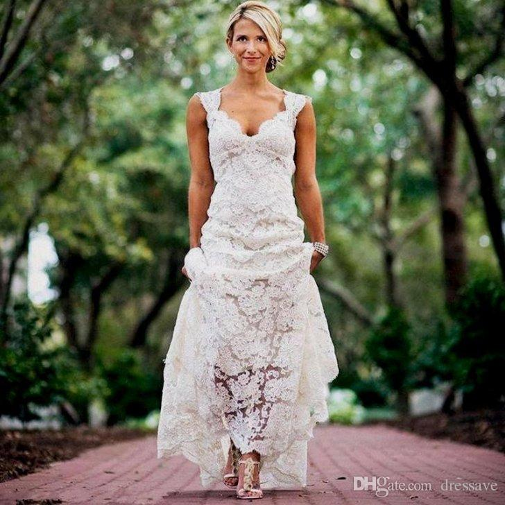 Cheap Wedding Dresses Lace Country Style Pluging V Neck Cap