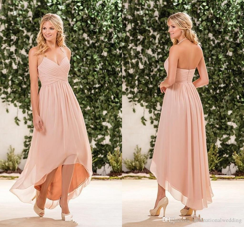 2017 cheap beach blush pink bridesmaid dresses halter for Cheap wedding dresses for guests